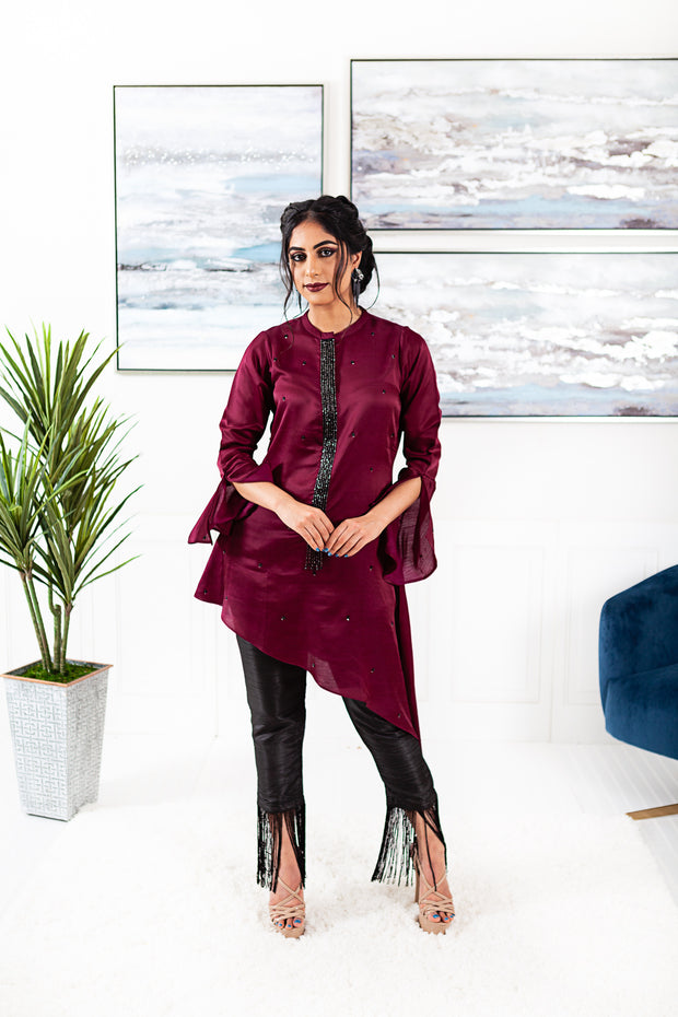 Azalea Wine/Black Pant Suit