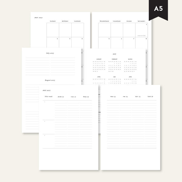Weekly Classic Planner July - December 2017 / A5