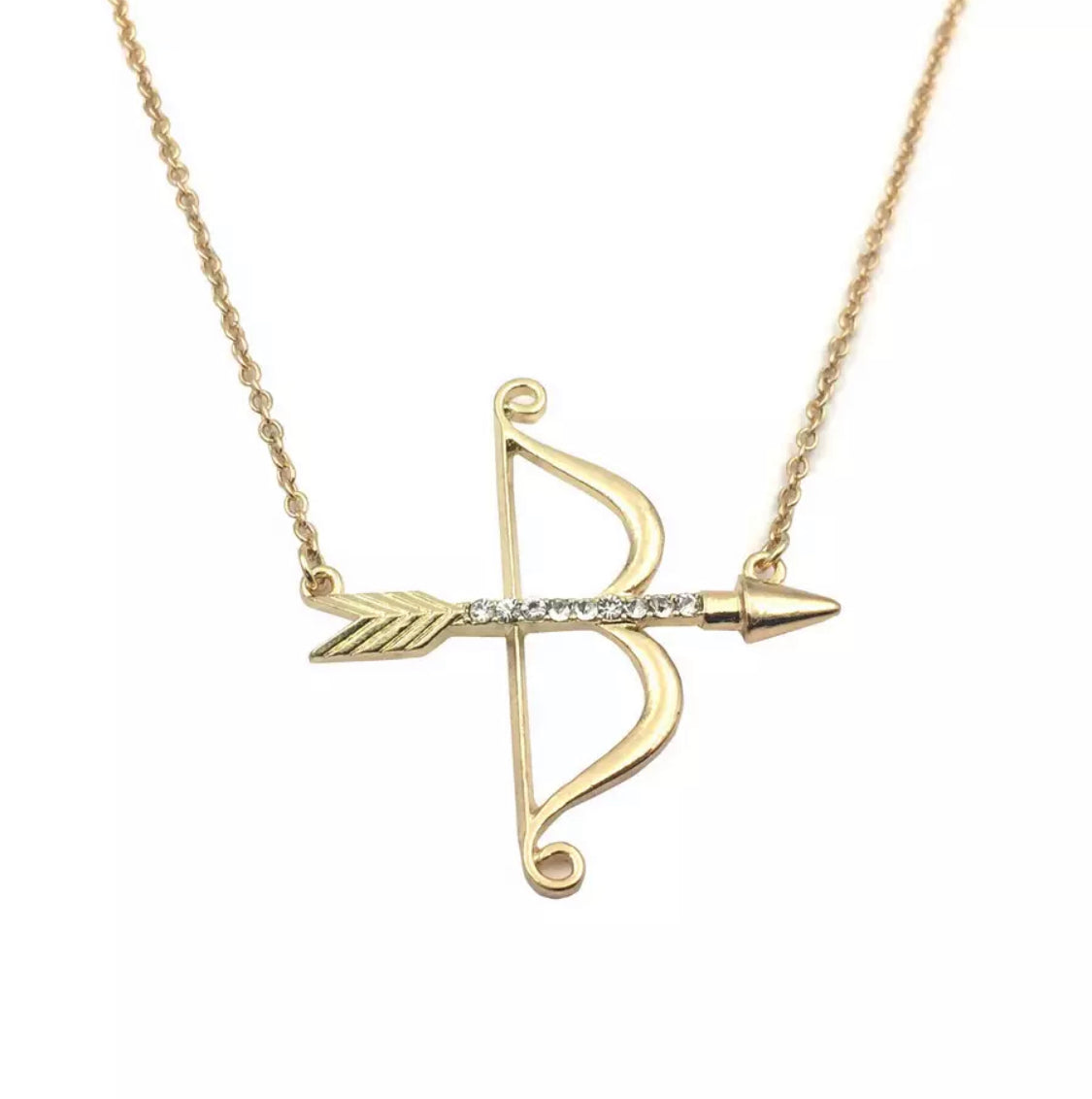 Bow and Arrow Gold Necklace Bow and Arrow Necklace Bullseye Necklace