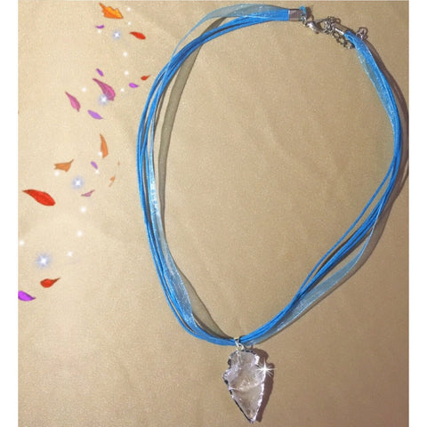 Arrowhead Crystal Pendant Blue Necklace