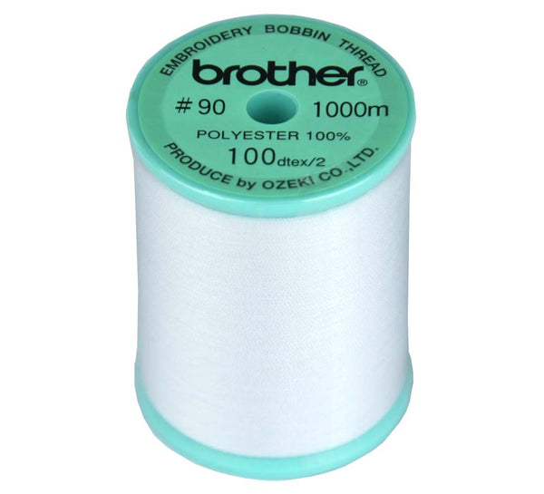 Brother White Embroidery Bobbin Thread #90 - 1000m