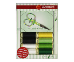 Gutermann Thread Pack With Scissors - Green Pack