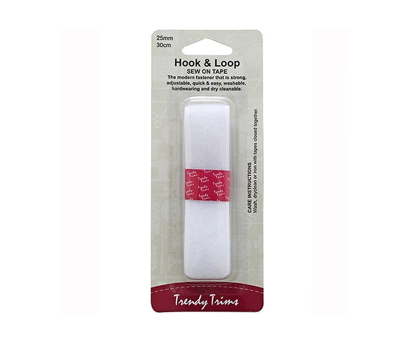 Hook and Loop Sew-On 25mm x 30cm - White