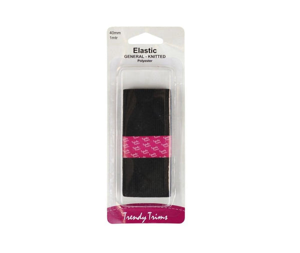 Black Knitted Elastic - 40mm x 1mt