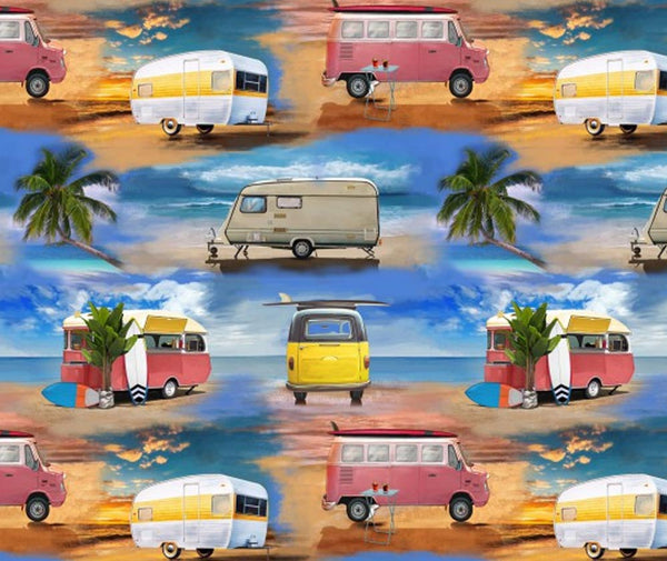 Retro Campers 100% Cotton Fabric - 1/2 Metre