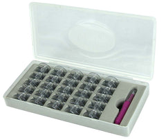 Sew Mate Bobbin Box with 25x Singer Bobbins & Needle Threader