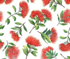 Kiwiana - Pohutukawa 100% Cotton Fabric - 1/2 Metre