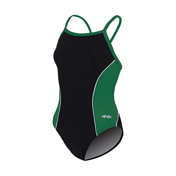 Dolfin XtraSleek Team Panel Black/Green/White V-2 Back