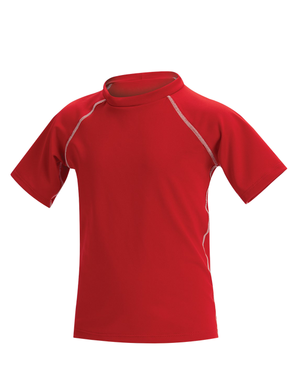 Little Dolfin Unisex Solid Red Short Sleeve Rashguard