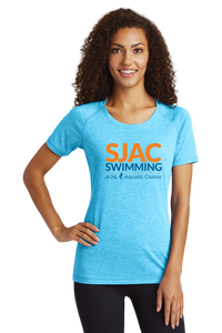 SJAC TriBlend Wicking Scoop Neck Tee - Pond Blue Heather
