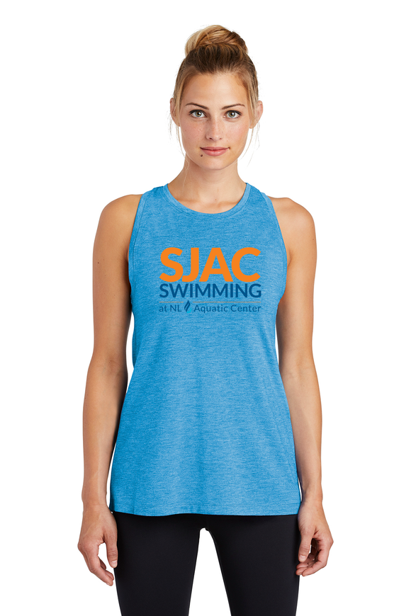 SJAC Ladies TriBlend Wicking Tank - Pond Blue Heather