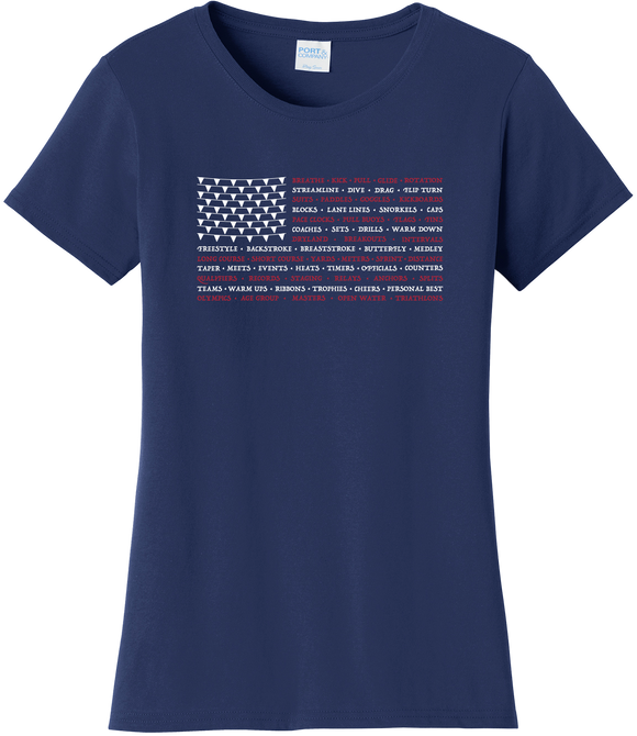 Swimming Words Flag Women's Tee