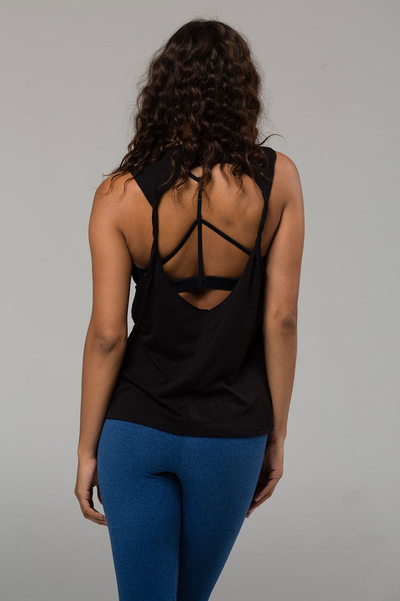 Twist Back Top - BLACK