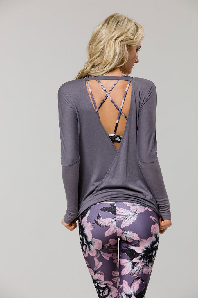 Drapey V Back top - Graphite