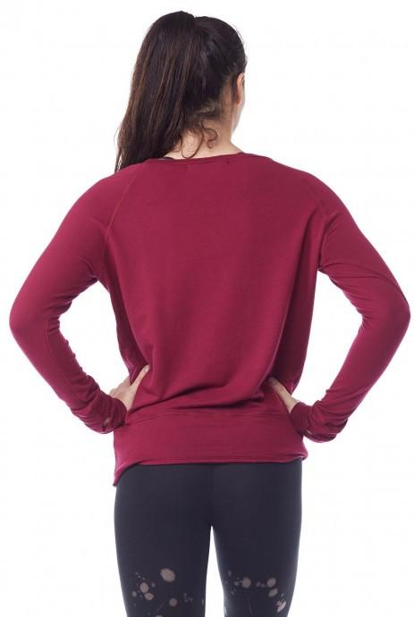 Organic Pullover with thumbholes- Burgundy