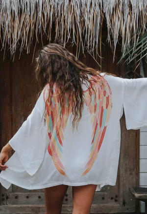 Archangel Gabriel Everyday Kimono - White with Rainbow Pastel Wings