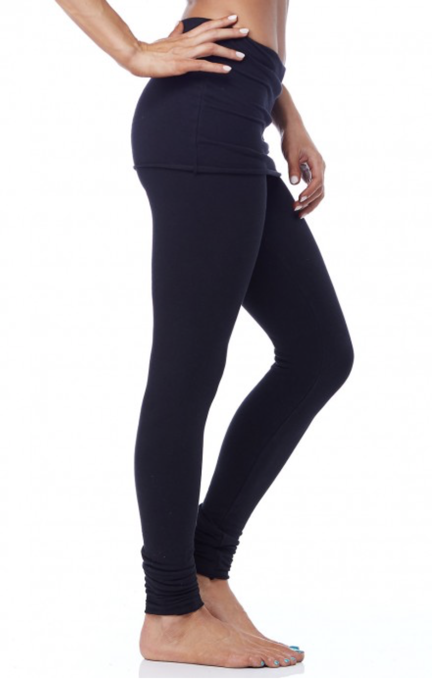 Organic French Terry Foldover Legging - Black