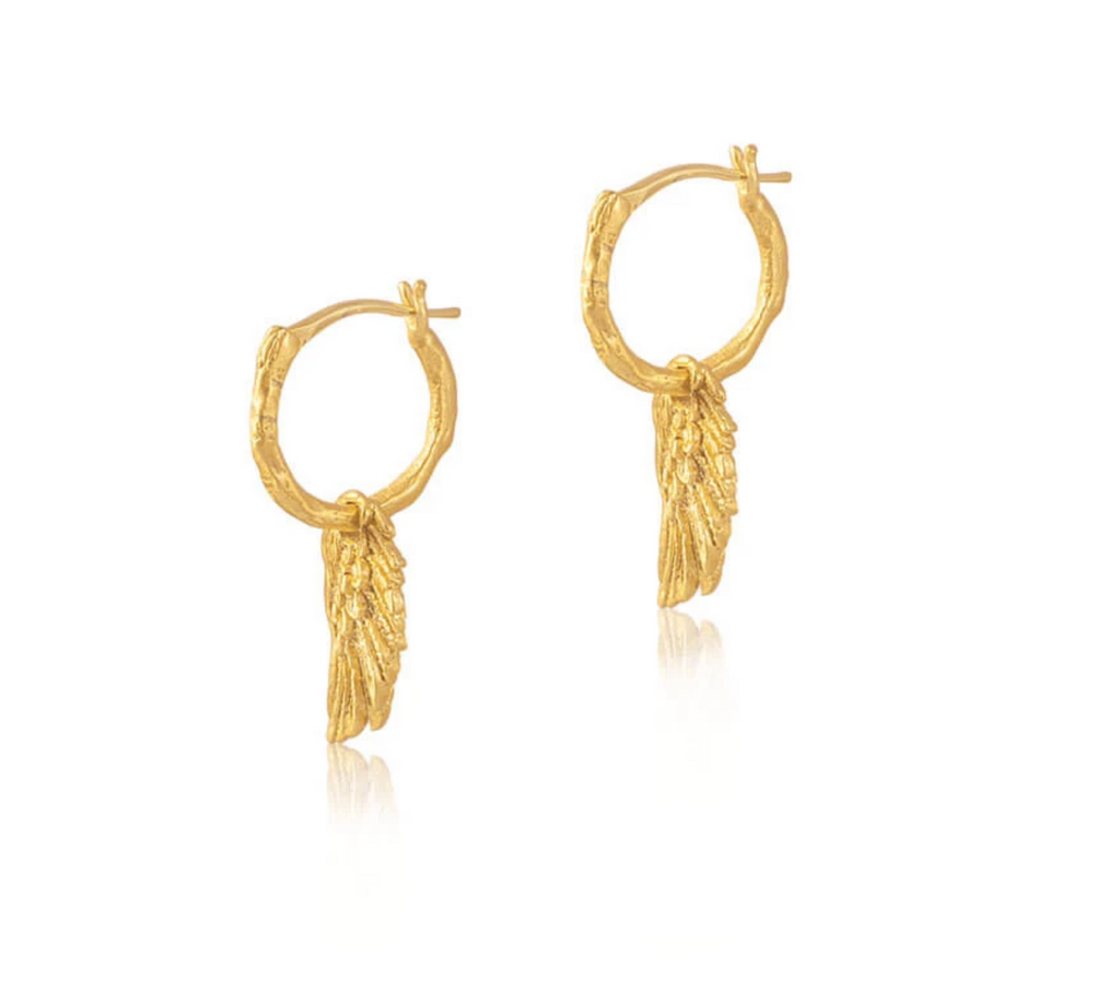Spread Your Wings Hoop Earrings - Gold
