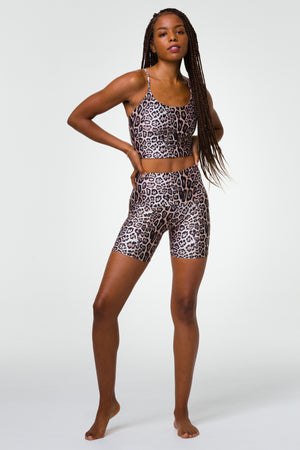 "High Rise 5"" Bike Short -  Leopard"