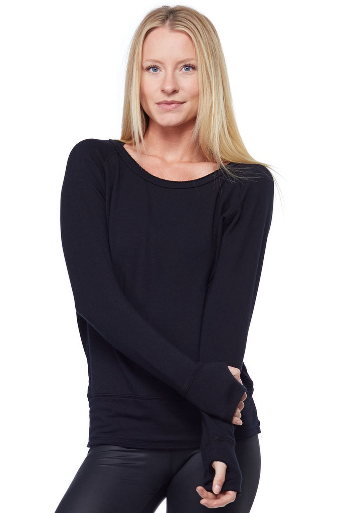 Organic Pullover with thumbholes - Black