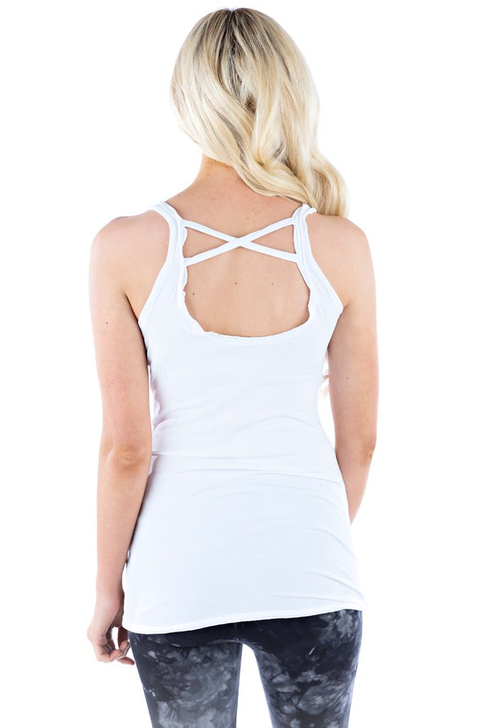 Organic Cross Back Tank - White