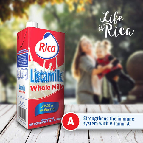 RICA Listamilk Whole Milk With Vitamin D 1Qt (4 Pack)
