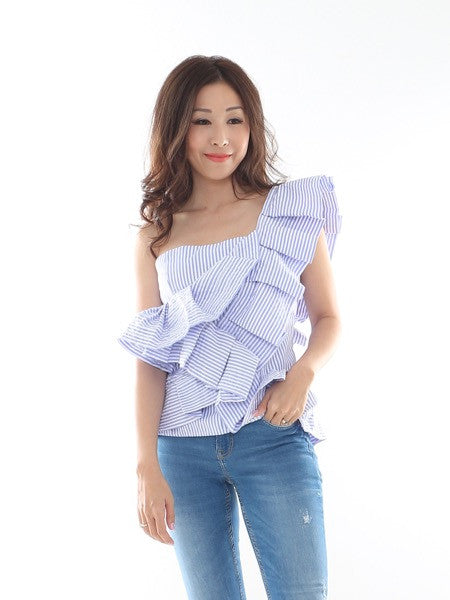 Nellie One-shoulder Ruffles Top