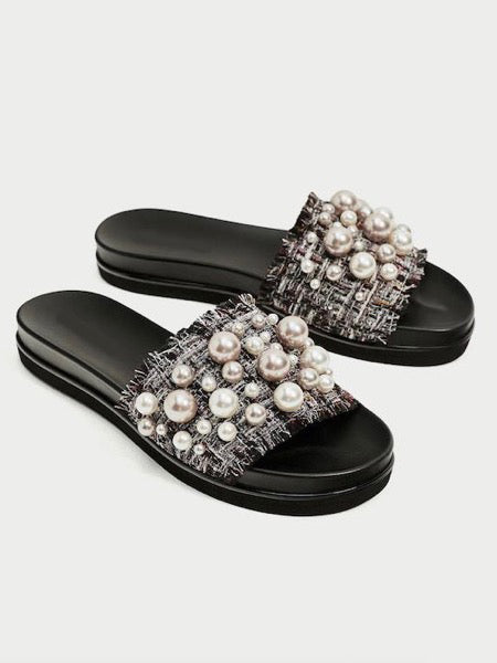 Tweed Pearl Slippers