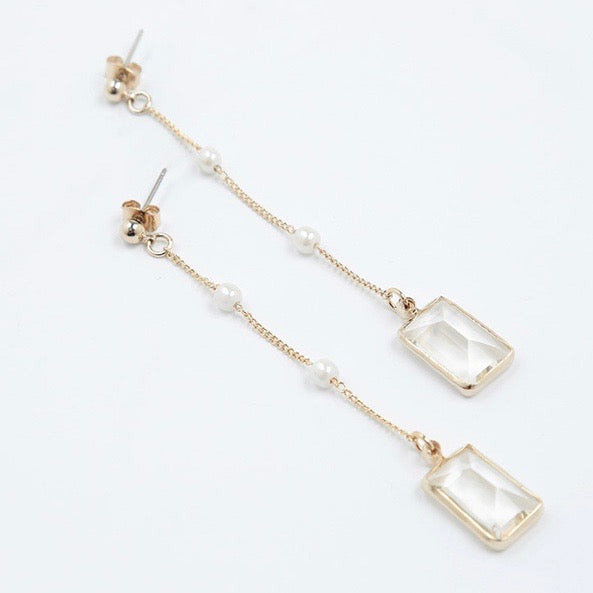 Rectangular Crystal Ear Ring