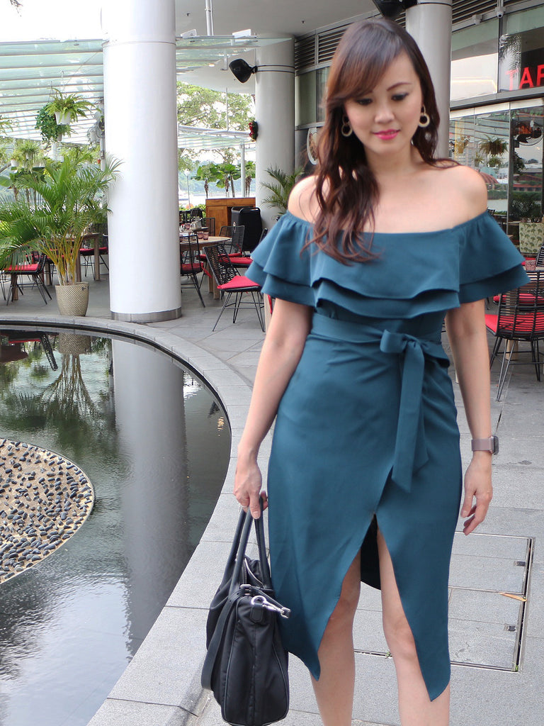 Chrissy off shoulder midi dress