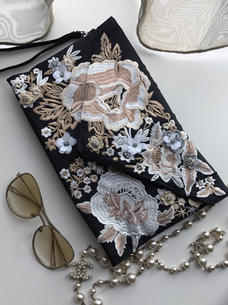 Messie Embroidery Envelope clutch