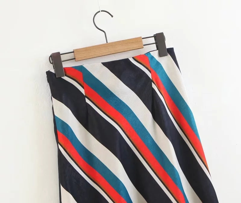 Aida Stripey Slit Midi skirt