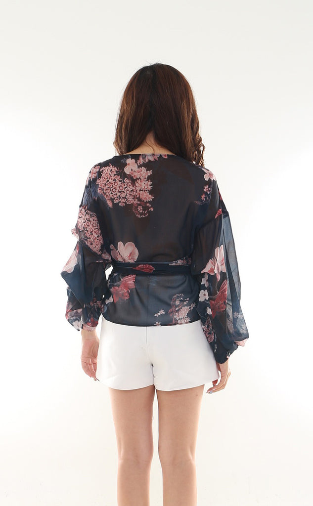 Aygel Wraparound floral tie top
