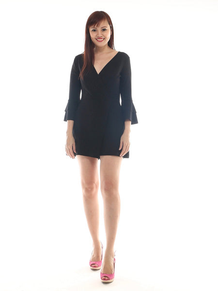 Chiris V neck frill sleeve playsuit