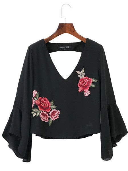 Doris LS embroidery top