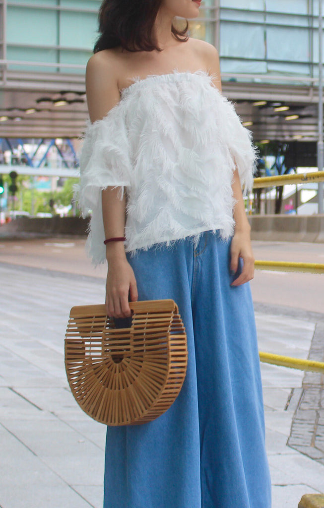 Lolo Off shoulder feather top