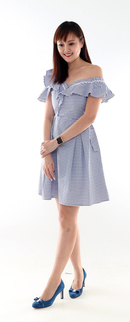Lonado Stripe frill dress