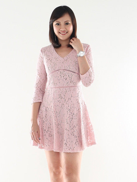 Oui lace 3/4 sleeve dress