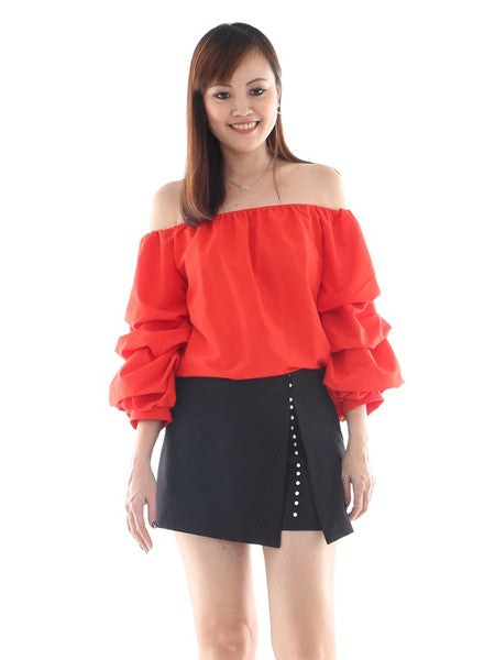 Poff sleeve red top