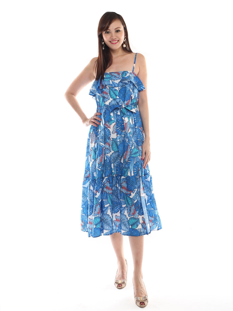 Randell Tropical Frill Maxi Dress