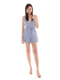 Refael Stripe Blue Playsuit