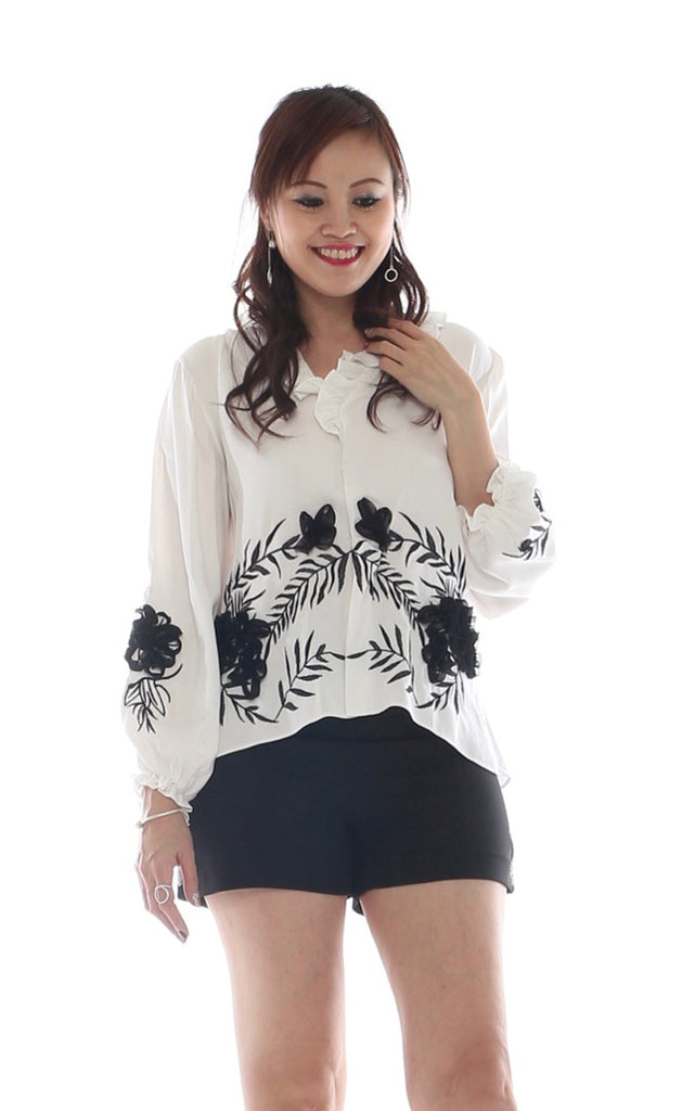 Sueyn ruffles long sleeves top