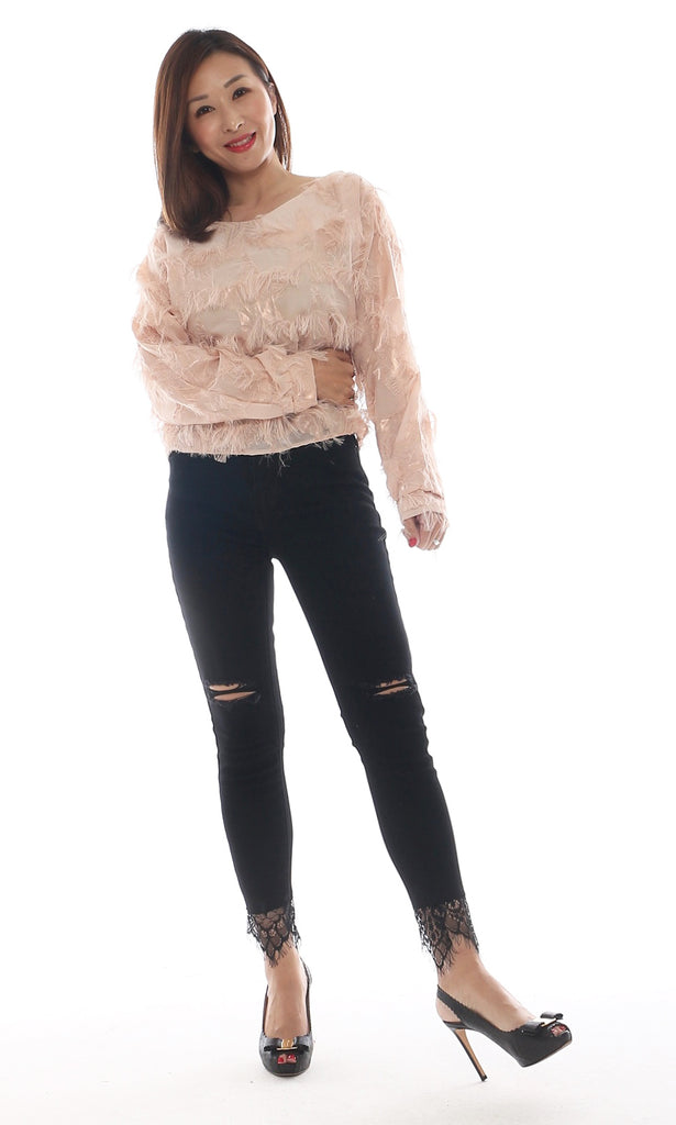 Wooyoo Cutout Black Denim Jeans