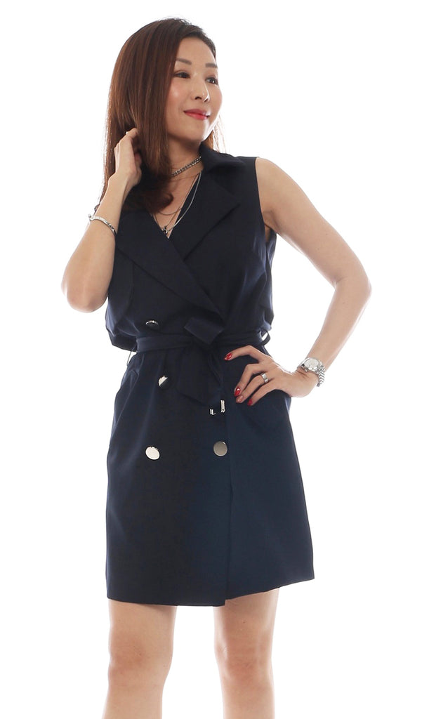 Ziqo Belted Navy Shirt Dress