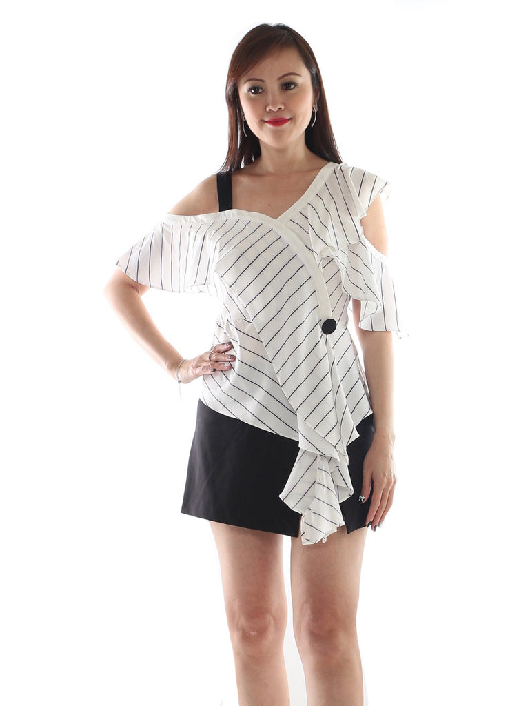 Luxe - Zoie Stripe Asymetrical Top