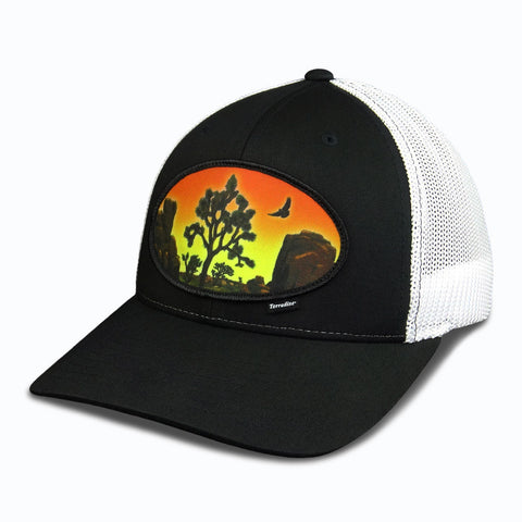 Desert Sunset Patch on Flexfit Cap - Black Front/White Mesh Back