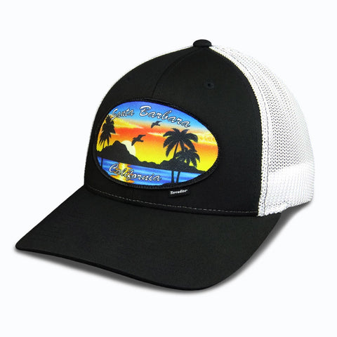 Santa Barbara CA Patch on Flexfit Cap - Black Front/White Mesh back