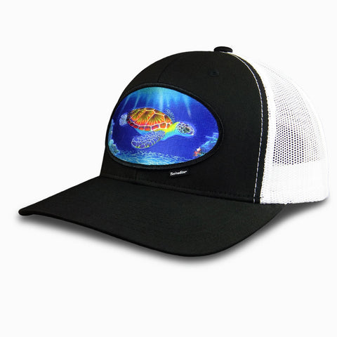 Sea Turtle Patch on Snapback Cap - Black Front/White Mesh Back