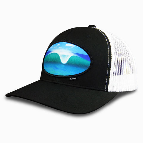 A-Frame Peak Wave Patch on Snapback Cap - Black Front/White Mesh Back