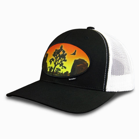 Desert Sunset Patch on Snapback Cap - Black Front/White Mesh Back